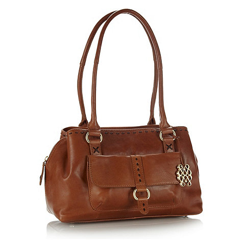 Bailey & Quinn - Tan leather stab stitched grab bag