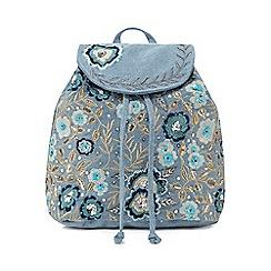 Mantaray - Blue denim embellished backpack