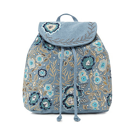 Mantaray - Blue denim embellished backpack