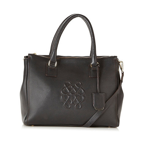 Bailey & Quinn - Black large embossed logo leather tote bag
