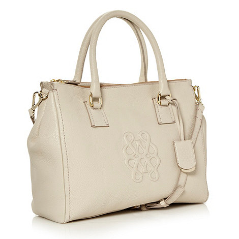 Bailey & Quinn - Cream large embossed logo leather tote bag