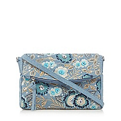Mantaray - Blue denim embellished cross body bag