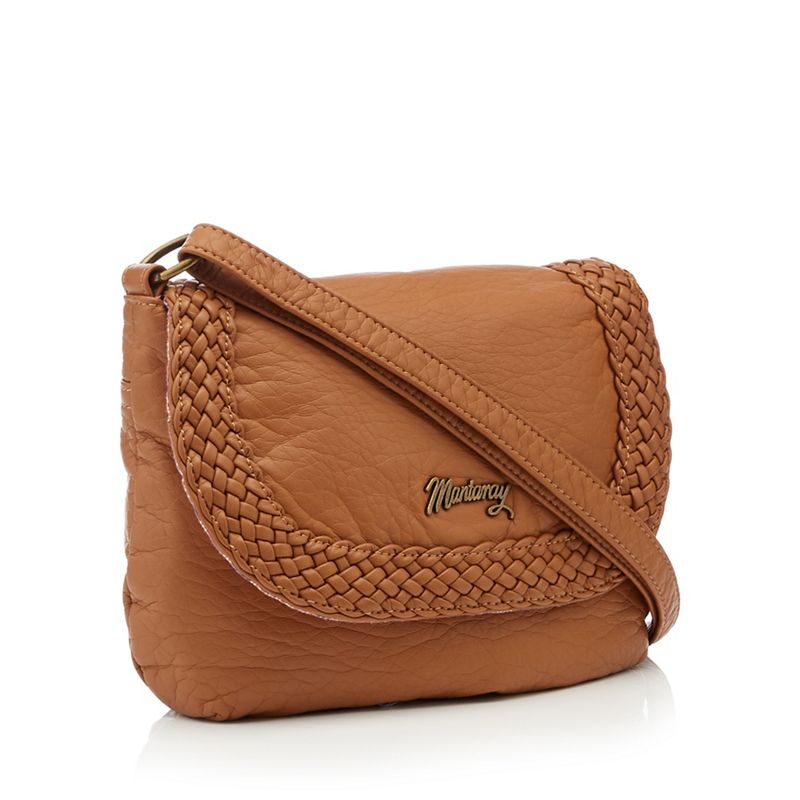 Mantaray - Tan Woven Cross Body Bag