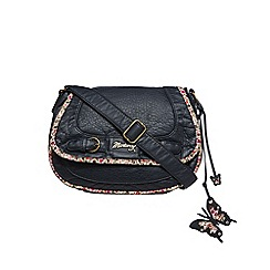 Mantaray - Navy floral trim saddle bag