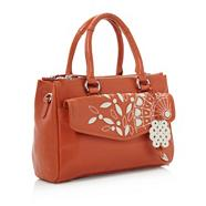 Orange Leather Appliqued And Embroidered Wheel Bag
