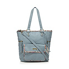 Mantaray - Mid blue top zip shopper bag