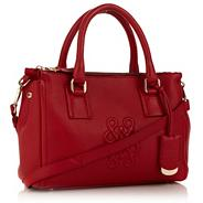 Red leather embossed shoulder bag