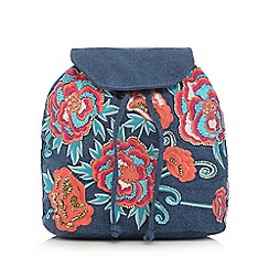 Mantaray - Blue floral embroidered backpack