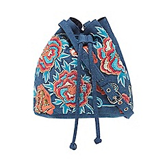 Mantaray - Blue floral embroidered duffle bag