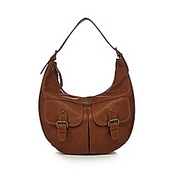 Mantaray - Brown embroidered strap shoulder bag