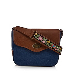 Mantaray - Brown and blue embroidered strap cross body bag