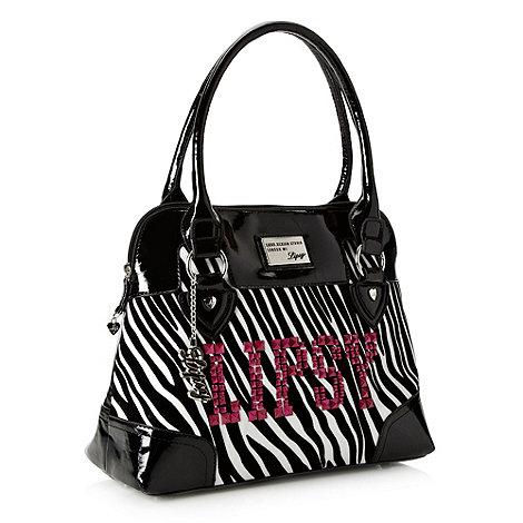 Lipsy - Black flocked zebra kettle bag