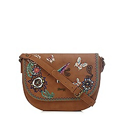 Mantaray - Tan hummingbird embroidered cross body bag