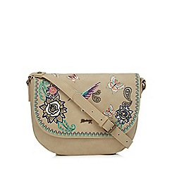 Mantaray - Cream hummingbird embroidered cross body bag