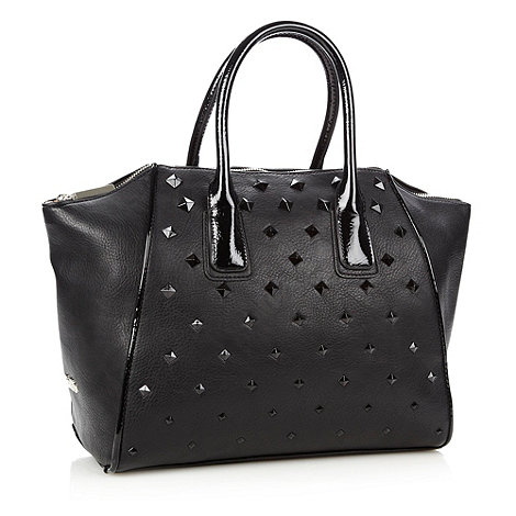 Faith - Black studded wing tote bag