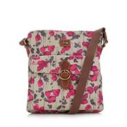 Grey tulip printed coated cross body bag