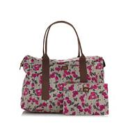 Grey tulip printed weekender bag
