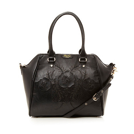 Sacha - Black flower front tote bag