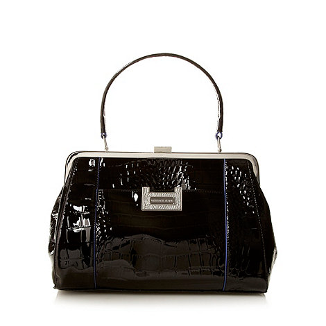 Versace Jeans - Black patent mock croc grab bag