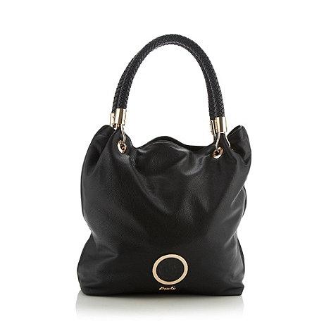 Sacha - Black plaited handle hobo bag