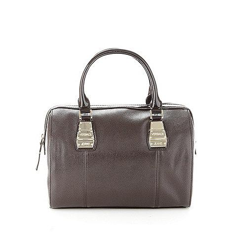Versace Jeans - Dark brown metal tab bowler bag