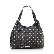 Black spotted coated canvas shoulder bag