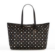 Black coated canvas spotted shopper bag