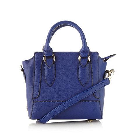 Faith - Blue crosshatch mini tote bag