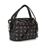 Black eyelet slouch shoulder bag
