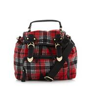 Designer red checked pom pom cross body bag