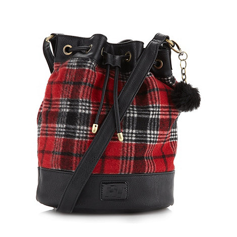 H! by Henry Holland - Designer red tartan pom pom cross body bag