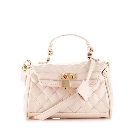 Red Herring - Light pink quilted mini satchel bag