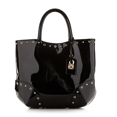 Faith - Black patent tote bag