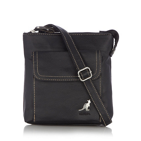 Kangol - Black grained logo cross body bag