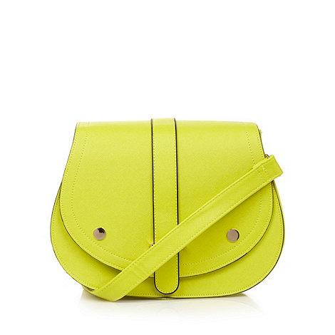 H! by Henry Holland - Designer lime crosshatch large saddle cross body bag