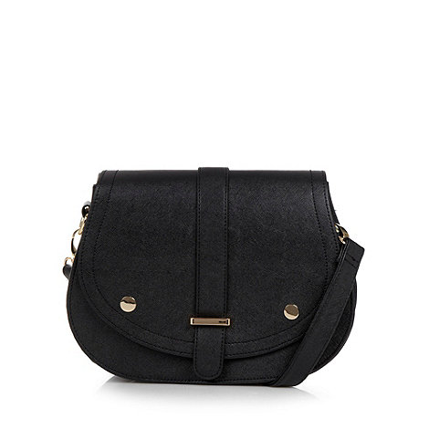 H! by Henry Holland - Designer black crosshatch saddle bag