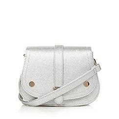 H! by Henry Holland - Designer silver crosshatch small saddle cross body bag