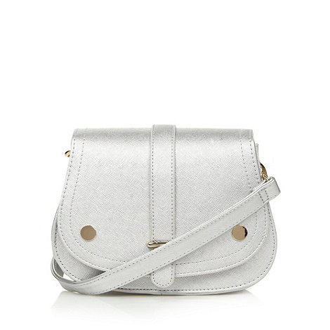 H! by Henry Holland - Designer silver crosshatch small saddle cross body bag
