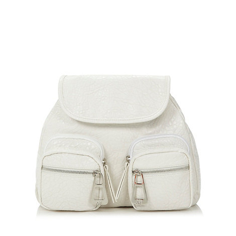 H! by Henry Holland - Designer white textured backpack