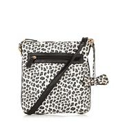 Black glitter leopard print cross body bag