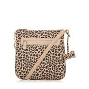Tan glitter leopard print cross body bag
