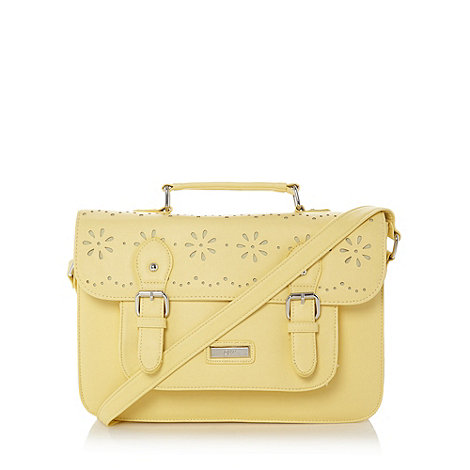 Red Herring - Pale yellow cut out satchel bag