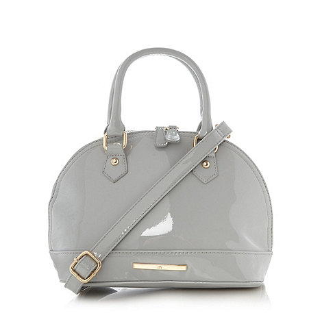 Red Herring - Pale grey small patent bowler bag