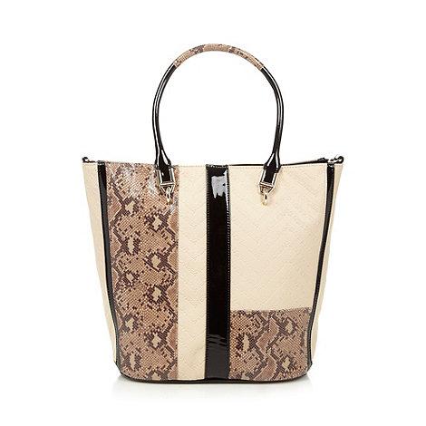 Versace Jeans - Cream snake panel shopper bag