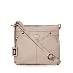 The Collection - Pale pink leather debossed logo cross body bag