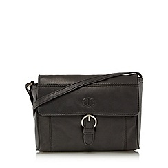 The Collection - Black leather buckled cross body bag