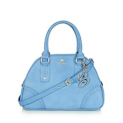 Sacha - Blue punched hole trim three section bowler bag