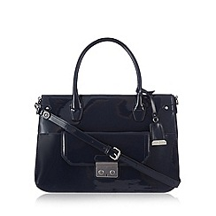 J by Jasper Conran - Designer navy patent push lock tote bag