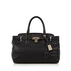 J by Jasper Conran - Designer black leather belted padlock medium tote bag