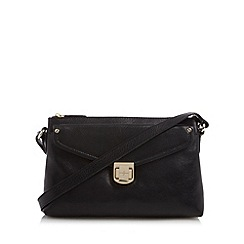 J by Jasper Conran - Designer black leather square twist lock cross body bag